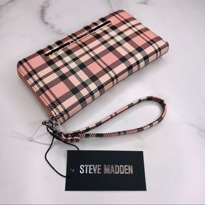 Steve Madden | Pink Plaid Zip Around Wallet Clutch